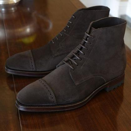 Handmade Men's Ankle High Boot, Men..