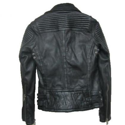 BRIT CROPPED BLACK LEATHER BIKER RA..