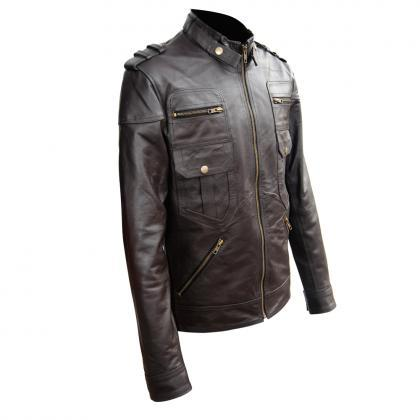 CLASSIC BROWN LEATHER BIKER RACING ..