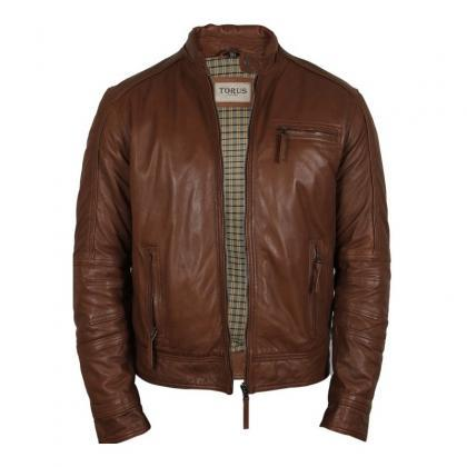 Men's Tan Leather Jacket For Mens on Luulla