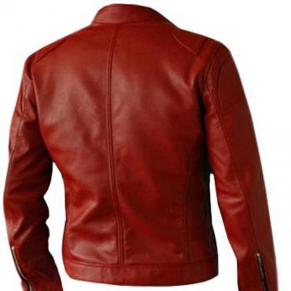 Womens Red Fashion Leather Jacket C..