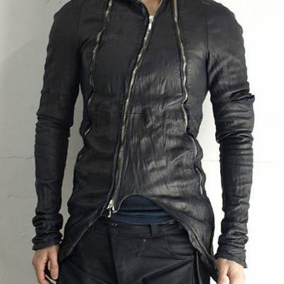 Black obscur zippered washed custom made lamb leather jacket men's 2016