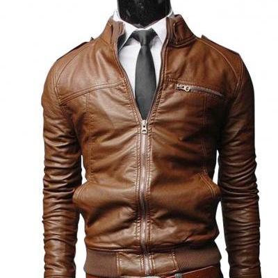 Brown Bomber Classic Slim Fit Original Leather Jacket Men's 2016