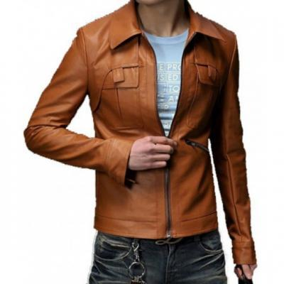 CUSTOM MADE SLIM FIT CLASSIC BROWN LEATHER JACKET MEN'S 2016