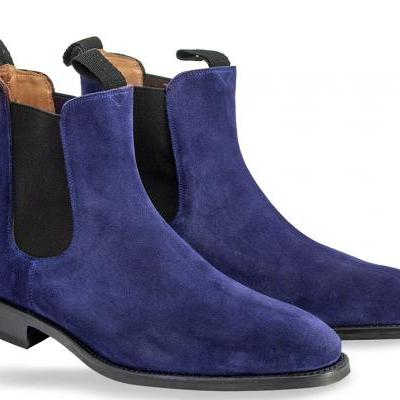 Chelsea Navy Blue Color Hand Made Suede Leather Boots Mens Blue Chelsea Boots