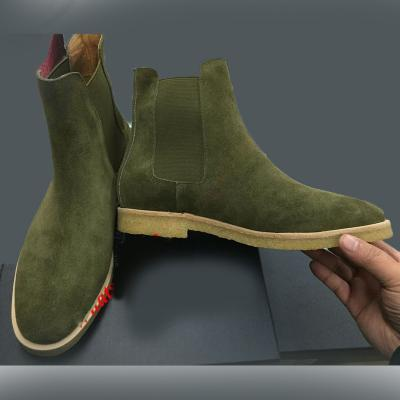HANDMADE CHELSEA ANKLE GREEN SUEDE LONG ANKLE BOOTS MEN CRAPE SOLE BOOTS