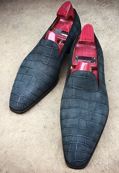Handmade Men's Casual Shoes, Men's Navy Blue Suede Alligator Skin Loafer Casual Shoes
