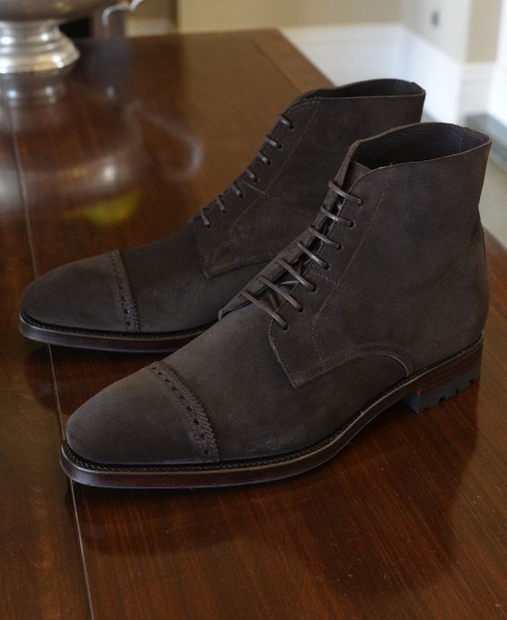 Handmade Men's Ankle High Boot, Men's Dark Brown Suede Cap Toe Lace Up Casual Boot.