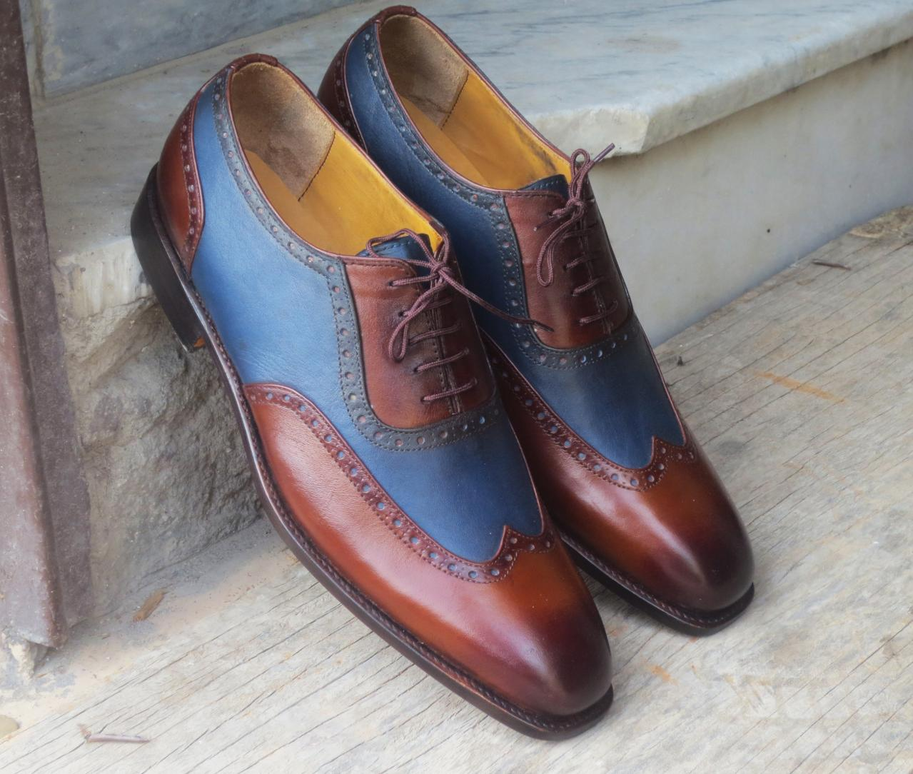 Handmade Men's Wing Tip Shoes, Brown Blue Leather Wing Tip Lace Up Formal Shoes.