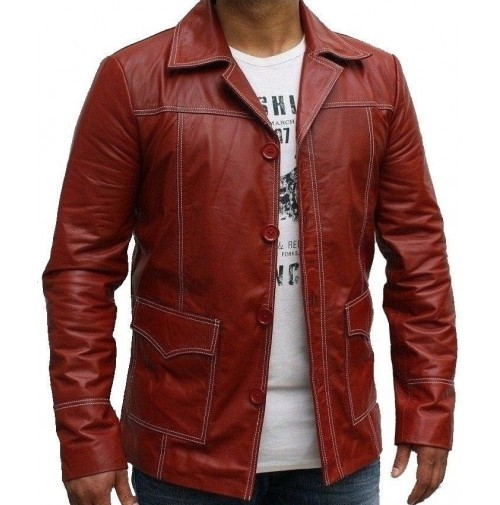BRAD PIT FIGHT CLUB RED CELEBRITY LEATHER JACKET 2016