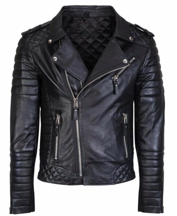 Custom Made Stylish Fashion Black Slim Fit Leather Jacket Men's 2016