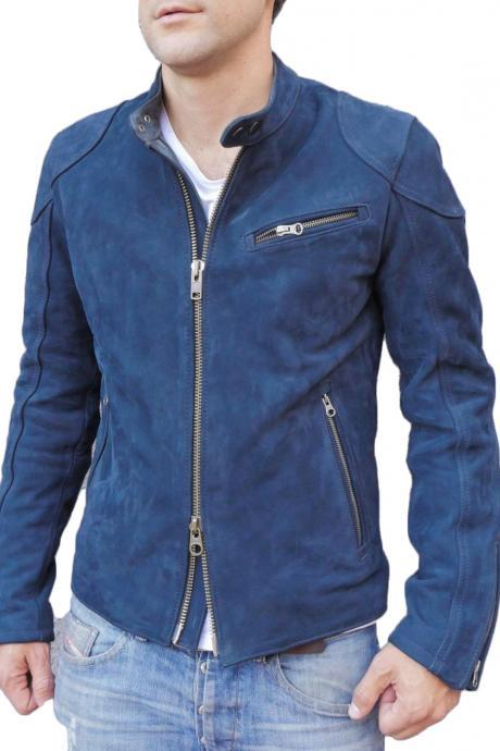 New Designer Motorcycle Fashion Suede Leather Jacket For Stylish Looking Men's