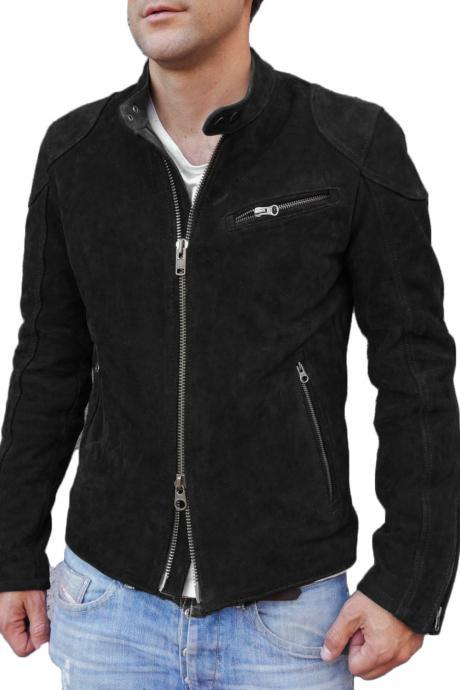New Designer Black Motorcycle Fashion Suede Leather Jacket For Stylish Looking Men's