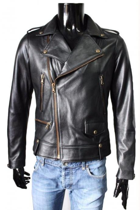 New Black Leather Jacket Motorcycle Stylish Slim Fit Lambskin Jacket
