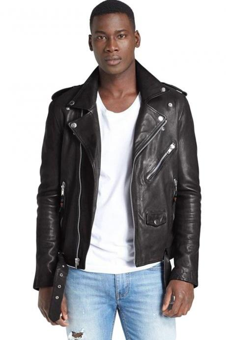 New Men's Designer Collections Fashion Soft Lambskin Leather Jacket