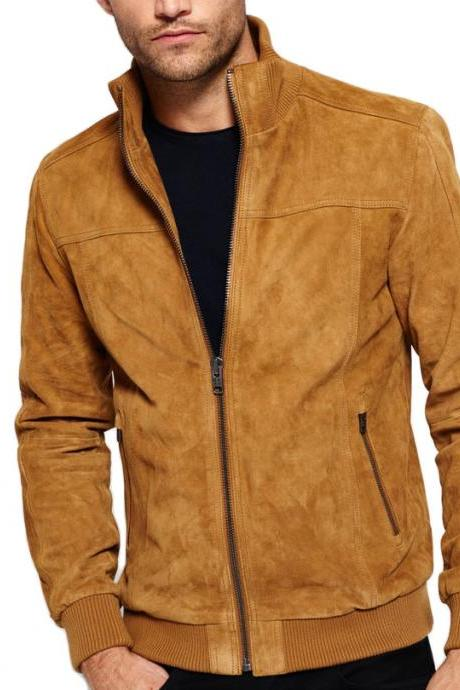 New Men Awesome Premium Suede Biker Fashion Style Leather Jacket