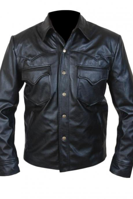 New Men Branded Designer Shirt Collar Soft Lambskin biker Leather Jacket