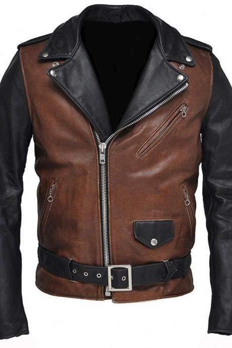 New Designer Classic Original Two Tone Motorcycle Fashion Leather Jacket for Men