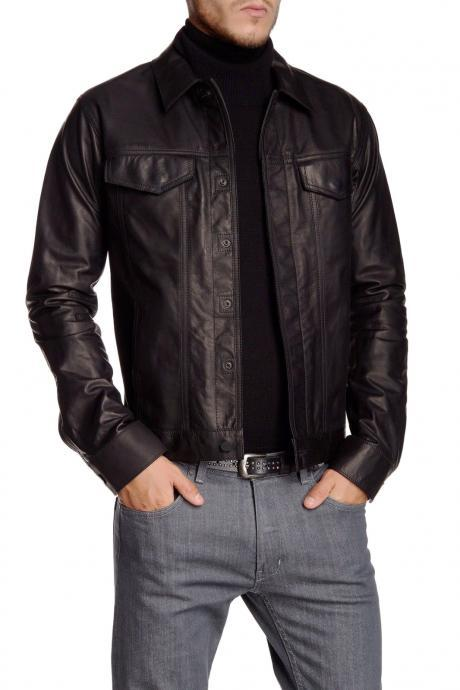 New Men Leather Blazer Black soft lambskin Slim fit Shirt Designer Jacket