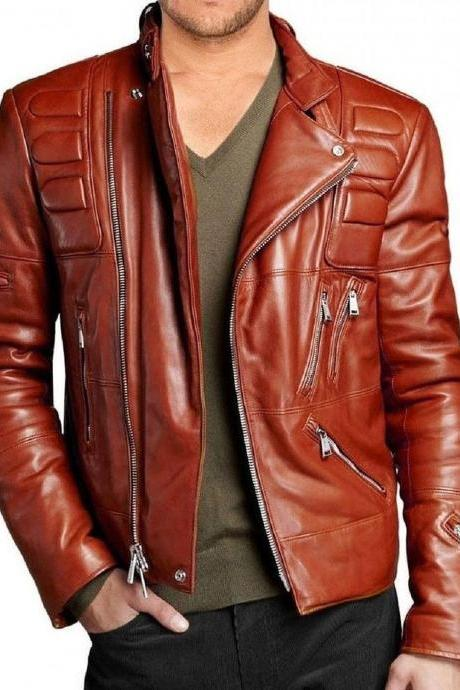 Men New Motorcycle New Quilted Soft Leather Biker Jacket