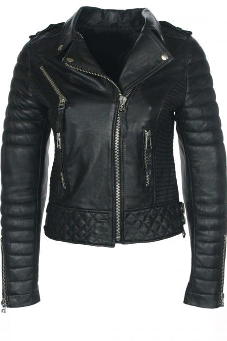 New Designer Lambskin Fashion Distressed Leather Style Jackets For Women
