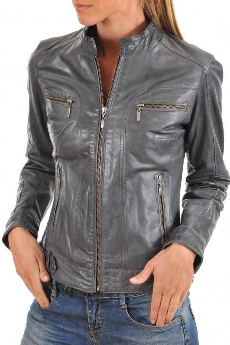 New Women Designer Trendy Soft Lambskin Leather Biker Stylish Jacket