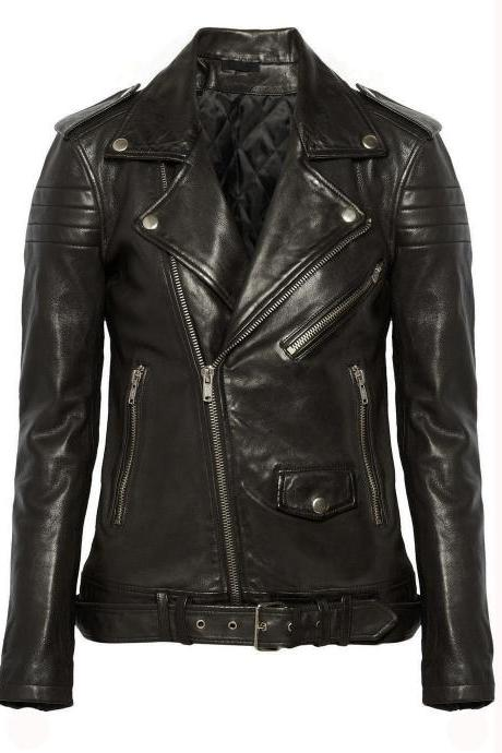 New Women Leather Jacket Coat Biker Motorcycle Biker Soft Black Jacket