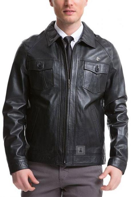 New Men Leather Classic Jacket Genuine Soft Cow-Hide Biker Jacket