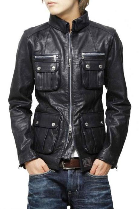 New Men Classic Leather Jacket Genuine Soft Cow-Hide Biker Jacket