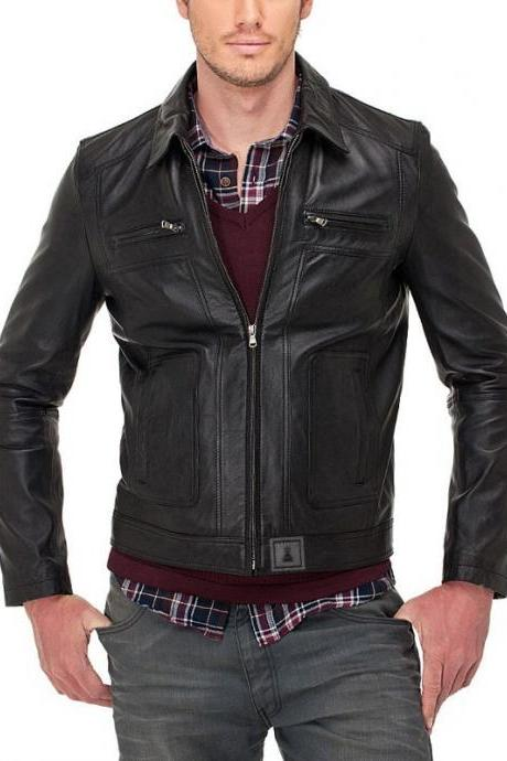 New Handmade Men Classic Leather Jacket Genuine Soft Cow-Hide leather Biker Jacket