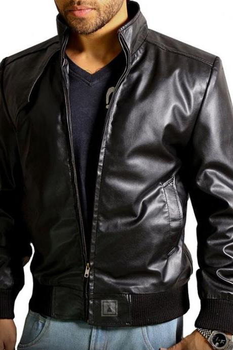 New Men Leather Classic Bomber Jacket Genuine Soft Cow-Hide Biker Jacket