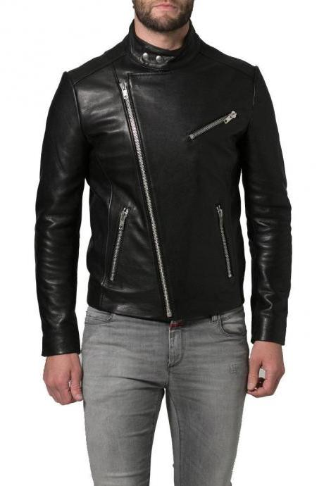 New Handmade Leather Jacket 100% Brand Genuine Soft Cow Hide Leather Biker Jacket For Men