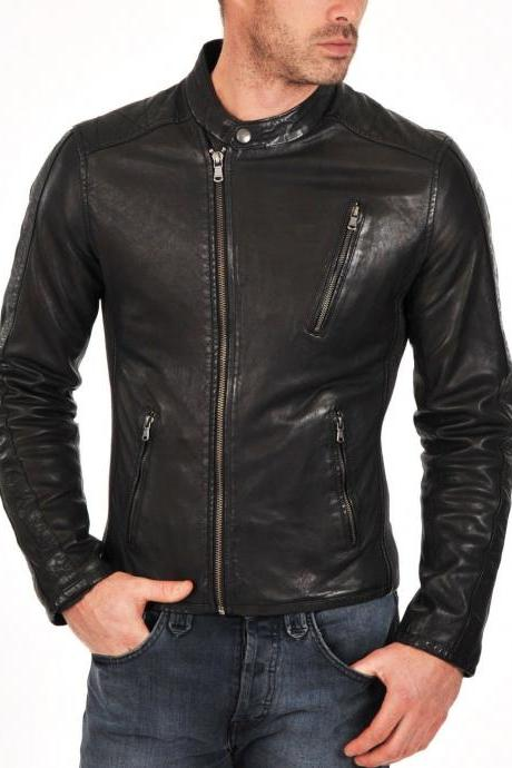 Handmade Leather Jacket Brand New 100% Genuine Soft Cow Hide Biker Jacket For Men