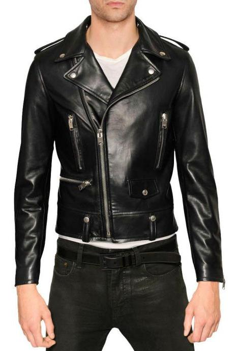 Handmade Black Leather Jacket Brand New 100% Genuine Soft Cow Hide Biker Jacket For Men