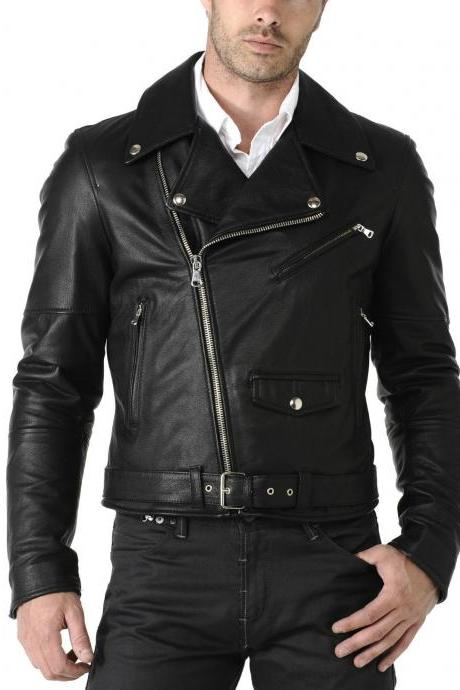 Men Leather Jacket Brand New 100% Genuine Soft Cow Hide Biker Jacket