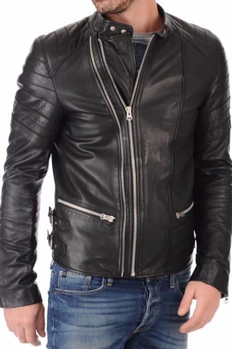 Handmade Men Leather Jacket Brand 100% Genuine Soft Cow Hide Biker Jacket