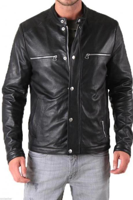 New Handmade Men Leather Jacket Brand 100% Genuine Soft Cow Hide Biker Jacket
