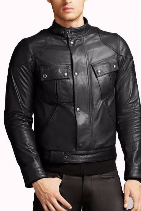 Handmade Men Leather Jacket Brand New 100% Genuine Soft Cow Hide Biker Jacket For Men