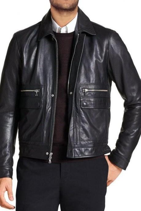 Men Leather Jacket Brand 100% Genuine Soft Cow Hide Biker Jacket
