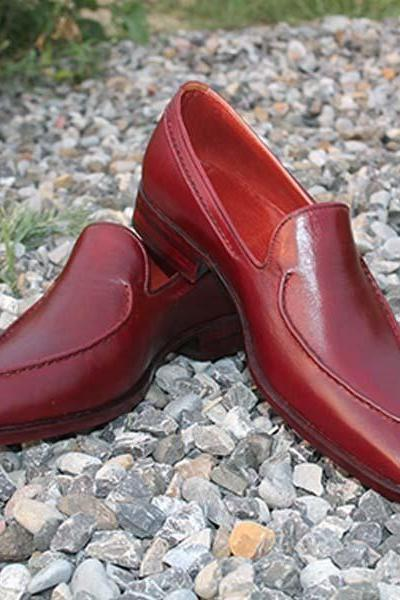 Handmade Men Stylish Leather Dress Formal Burgundy Loafers