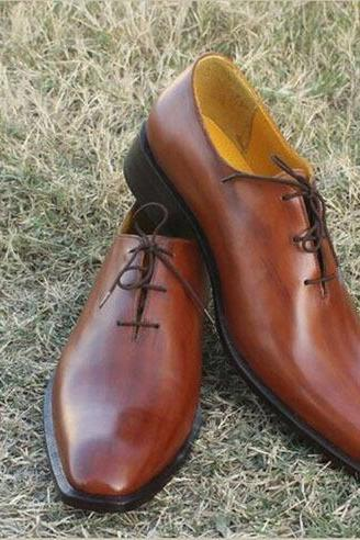 Handmade Men Brown Oxford Dress Shoes, Men Oxford Dress Shoes