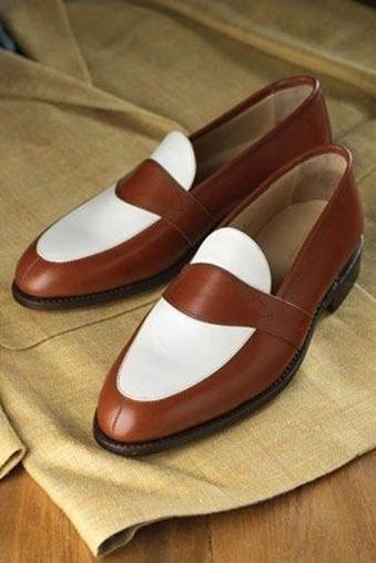 Handmade Men Brown And White Leather Slip Ons, Men Dress Shoes