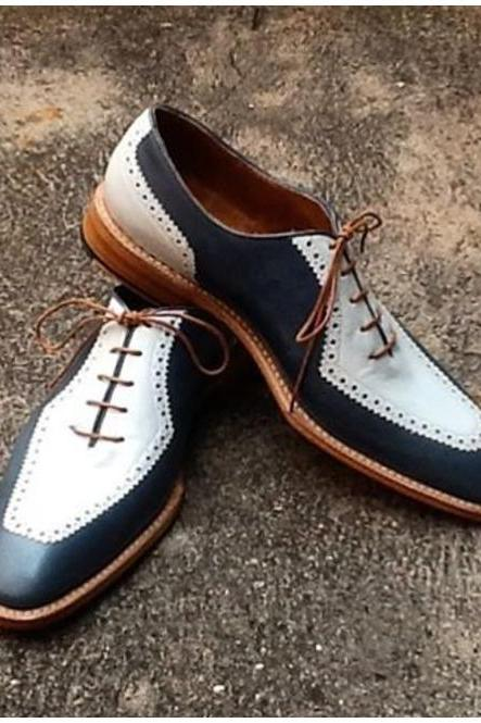 Handmade Men Oxford Two Tone Black And White Dress Shoes