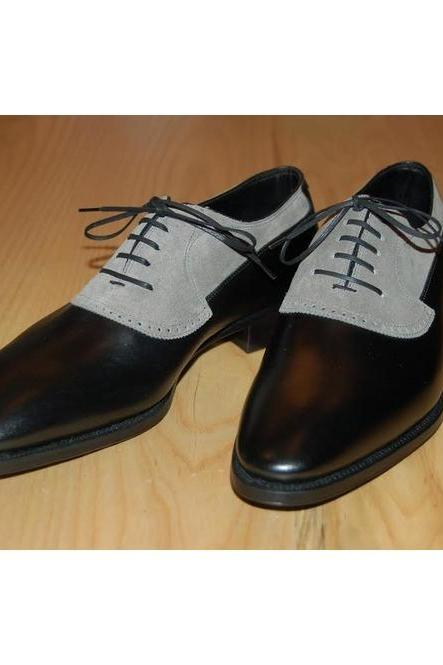 Handmade Men Leather & Suede Two Tone Laceup Black & Gray Dress Shoes