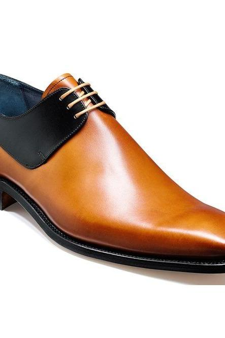 Handmade Men Derby Tan & Black Lace up Dress Shoes