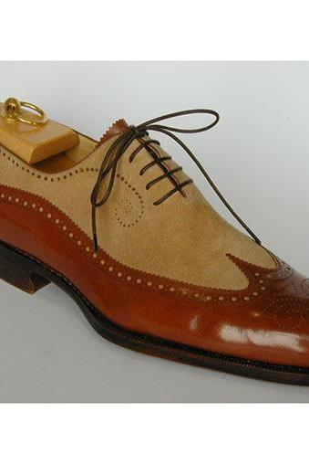 Handmade Men Spectator Wingtip Brogue Two Tone Brown Dress Shoes