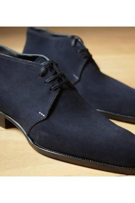 Handmade Men Navy Blue Derby Formal Shoes, Navy Suede Dress Shoes