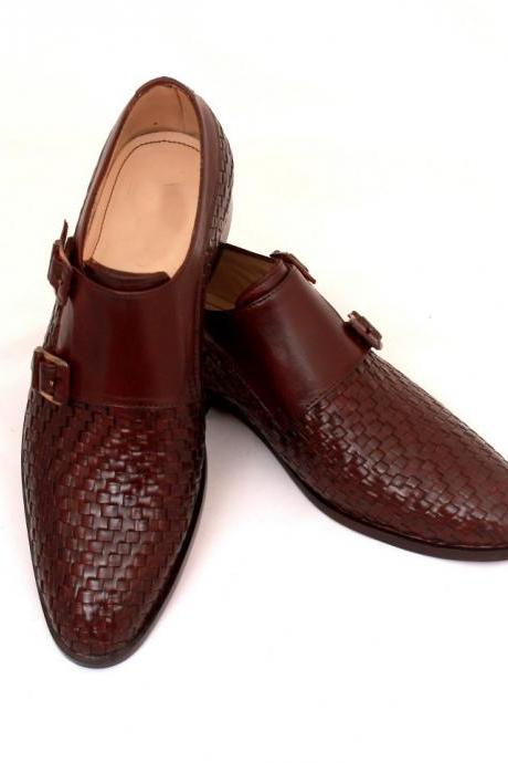 New Handmade Men Double Monk Strap Wavy Leather Shoes, Brown Dress Formal Shoes