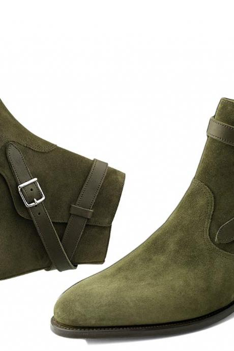 New Handmade Men Green Buckle Suede Jodhpurs, Green Dress Formal Ankle Boots