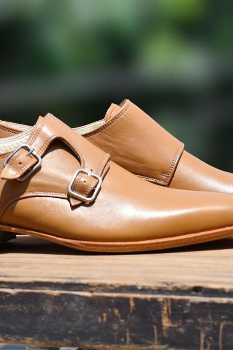 Handmade Double Monk Tan Shoes Dress Formal Shoes, Men's Designer Formal Shoes